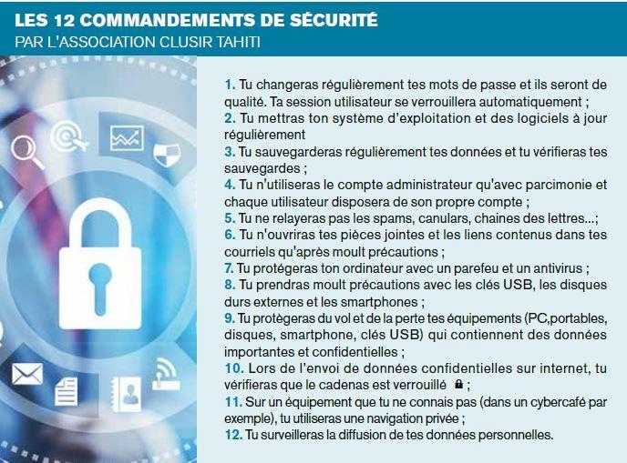 Clusir Tahiti : Les 12 commandements de la sécurité informatique