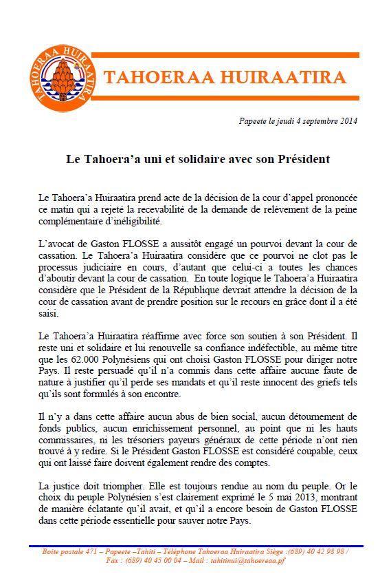 Communiqué: Le Taoheraa soutient son Président