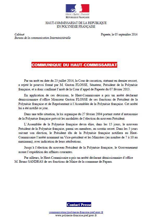 Le Haut-commissaire met fin aux fonctions de Gaston Flosse