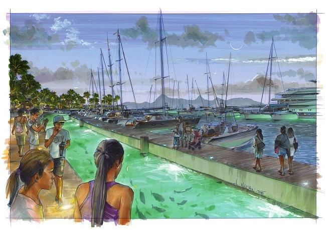Une vue de l'aménagement éclairé en soirée avec le parc à poisson dans ce bassin de 4 mètres de large.