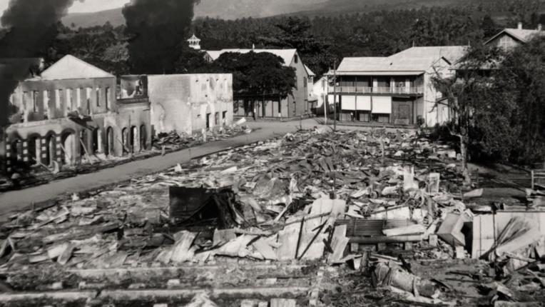 Le bombardement de Papeete (crédit : archives de la mairie de Papeete)
