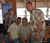 Taria Faatau maire déléguée de Mahu, à Tubuai ; Guyi Yieng-Kow, maire délégué de Taahuaia, à Tubuai ; Arietta Delord, troisième adjointe du maire de Tubuai ; Joachim Tevaatua, maire de Raivavae