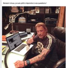Johnny Hallyday sur sa page Facebook a répondu jeudi aux questions de ses fans (Photo Facebook).