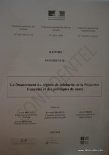 """Le rapport de l'Igas est estampillé """"confidentiel"""". De fait, même s'il a été remis au président Gaston Flosse en juillet dernier à Paris par la ministre des Outremer,  rien n'avait filtré depuis. Jusqu'à ce lundi 6 octobre."""