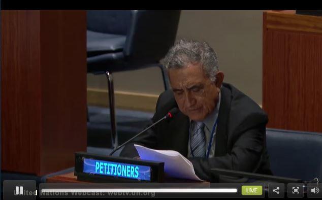 Oscar Temaru et Richard Tuheiava auditionnés par la 4e commission de l'ONU le 9 octobre 2013.