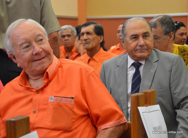 Gaston Flosse et Hubert Haddad, le 25 septembre 2012 au Palais de justice de Papeete, lors du procès en correctionnelle de l'affaire OPT