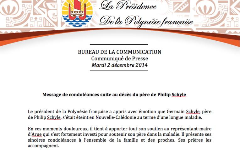 Condoléances pour le décès du père de Philip Schyle