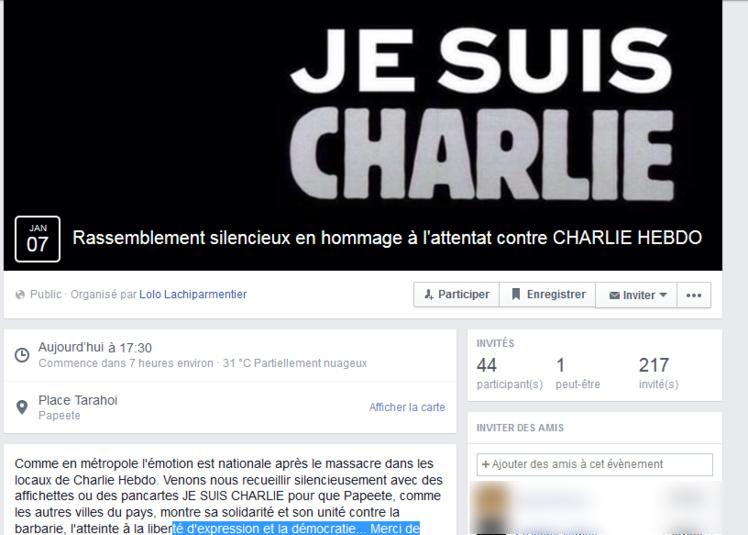 """""""Charlie Hebdo"""" : un rassemblement à 17h30 à Papeete ce soir"""