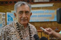 Oscar Temaru ce jeudi 8 janvier 2015. Sur les 50 ans d'existence de la mairie il a déjà assuré 32 ans comme tavana.