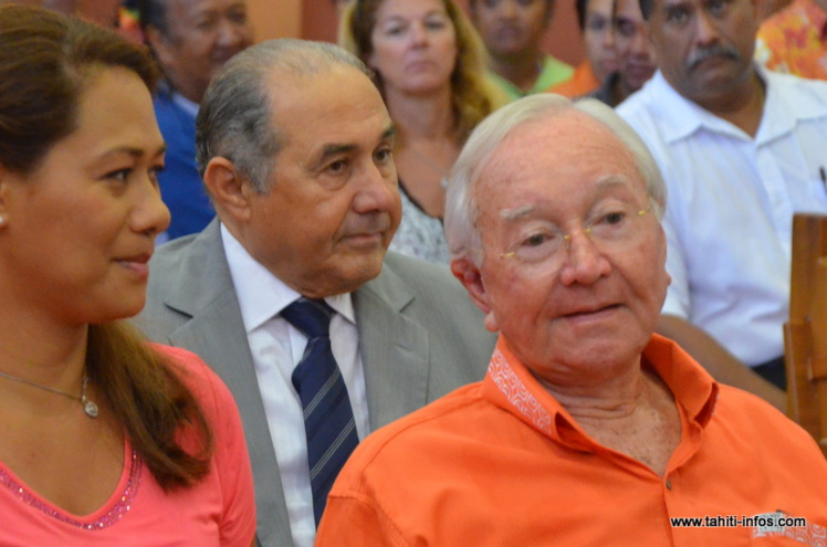 Gaston Flosse et Hubert Haddad, le 2 octobre 2012 lors du procès en première instance de l'affaire de corruption Haddad-Flosse également dite des annuaires de l'OPT