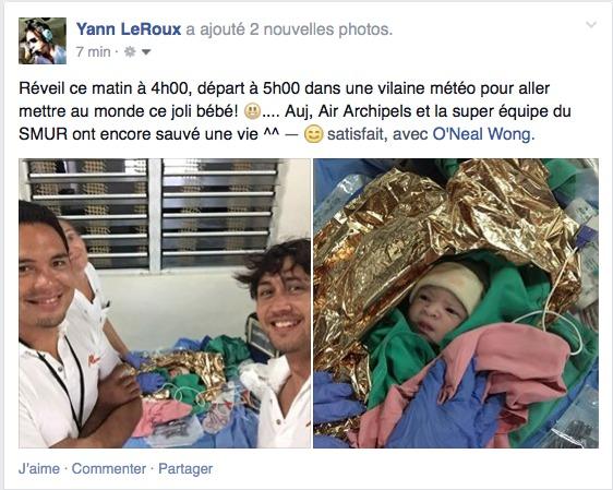 « On était tous heureux. On avait la grosse banane. On a pris des photos du bébé et de nous avec », raconte Yann Le Roux, commandant de bord chez Air Archipels.