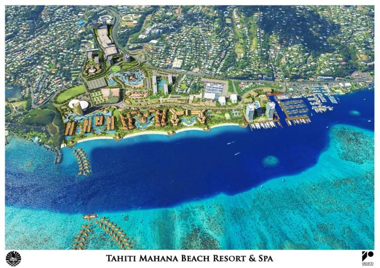 L'aménagement du Tahiti Mahana Beach tel qu'imaginé par les concepteurs hawaiiens du Group 70 International en juillet 2014.
