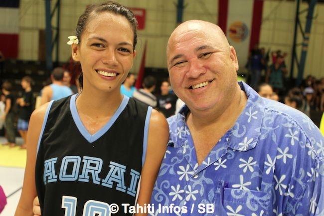 Maea Lextreyt et M. Richmond responsable de la section basket au collège d'Arue