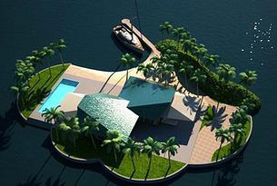 projet de maison-île flottante au Sri Lanka