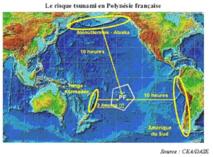Temps de réaction avant l'arrivée d'un tsunami en Polynésie française en fonction de la zone d'origine du séisme initial.