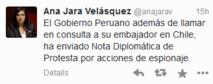 """""""Le Pérou a rappelé pour consultation son ambassadeur au Chili. En outre, j'ai envoyé une note diplomatique de protestation pour des actes d'espionnage"""", a indiqué Mme Jara sur son compte Twitter."""