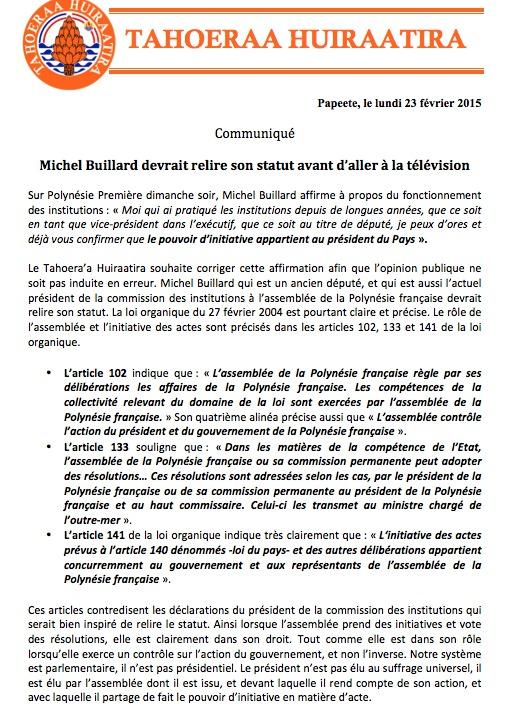 """Communiqué du Taohera'a: """"Michel Buillard devrait relire son statut avant d'aller à la télévision"""""""