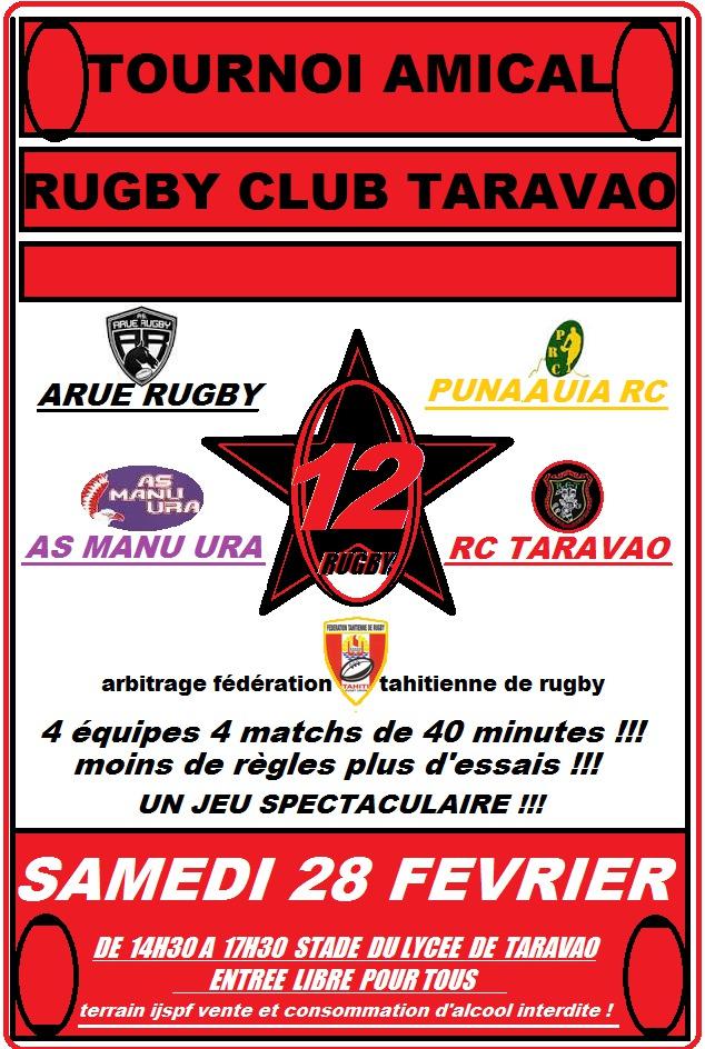 Rugby à 12 – un tournoi amical à Taravao le samedi 28 février.