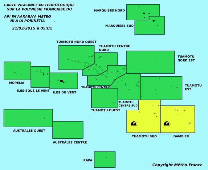 Vigilance jaune pour forte houle aux Gambier et aux Tuamotu Sud