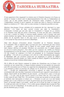 Gaston Flosse répond à la Ministre Pau Langevin