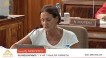 Armelle Merceron du groupe A Ti'a Porinetia a interrogé le gouvernement sur les comptes de l'OPT.