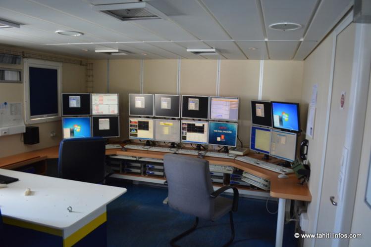 La salle des scientifiques où les données des sondeurs seront analysées en direct par les 9 scientifiques de l'Ifremer