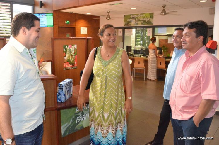 Vincent Dubois, Lana Tetuanui, Michel Buillard et Nuihau Laurey, lundi matin au Haut-commissariat