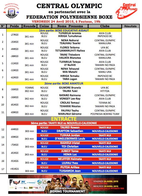 Sportstahiti Boxing Tournament, demandez le programme!