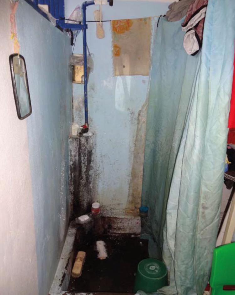 Les douches en cellule telles qu'elles étaient en décembre 2012. Dans sa réponse datée du 10 avril 2015, la ministre de la justice indique que des travaux effectués en 2013 et 2014 ont permis de carreler toutes les douches.
