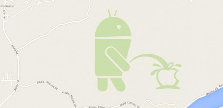 Le robot d'Android urine sur la pomme d'Apple