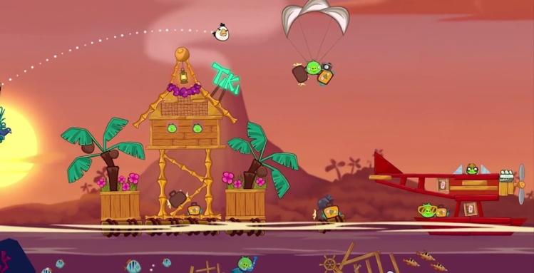 """Une scène du nouveau Angry Birds, """"Tropigal Paradise"""""""
