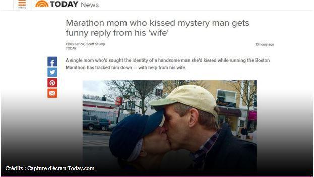 Boston : elle cherche l'homme qu'elle a embrassé au marathon, c'est sa femme qui répond