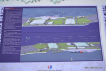 Une vue des installations prévues sur le site de la ferme aquacole de Hao, situé à l'arrière de l'aéroport de l'atoll.