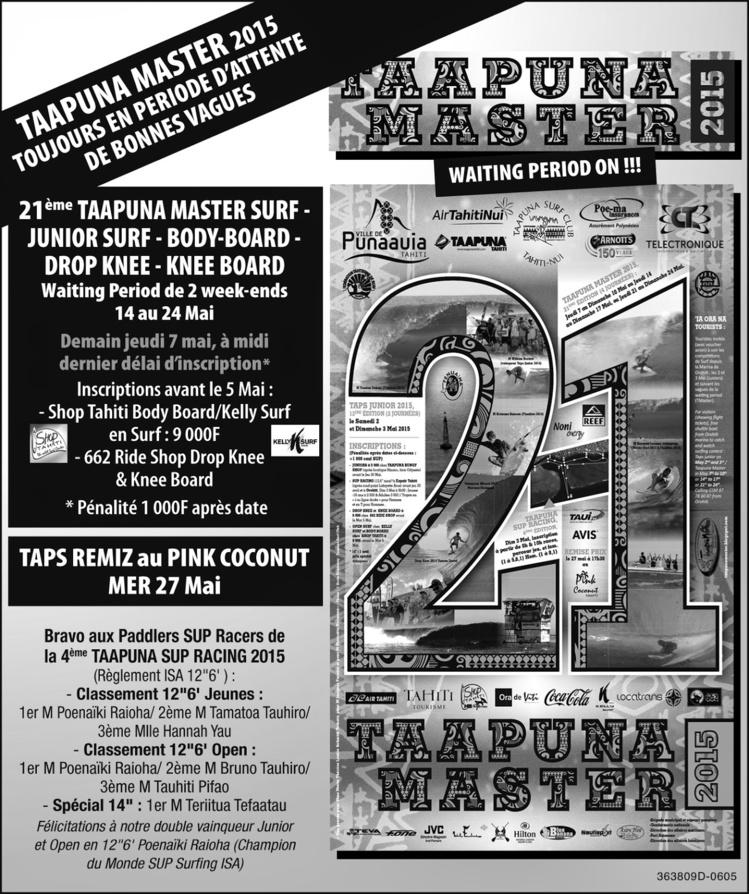 La Taapuna Master aura lieu du 21 au 24 mai