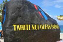 La pierre inaugurale du complexe aquacole Tahiti Nui Ocean Foods à Hao.