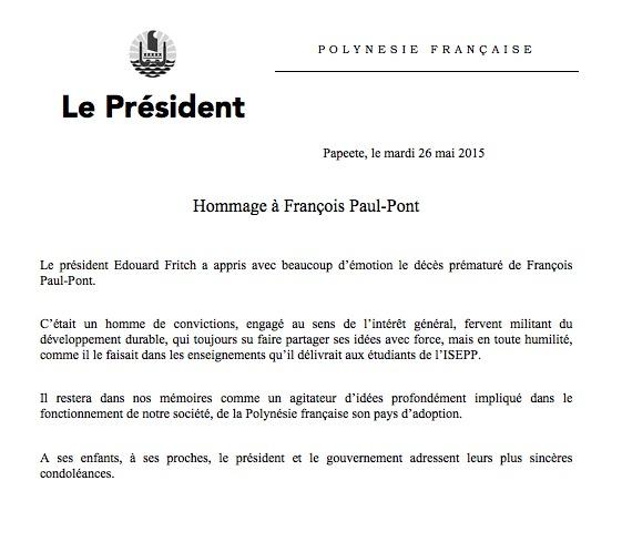 Décès de François Paul Pont, les condoléances de la Présidence