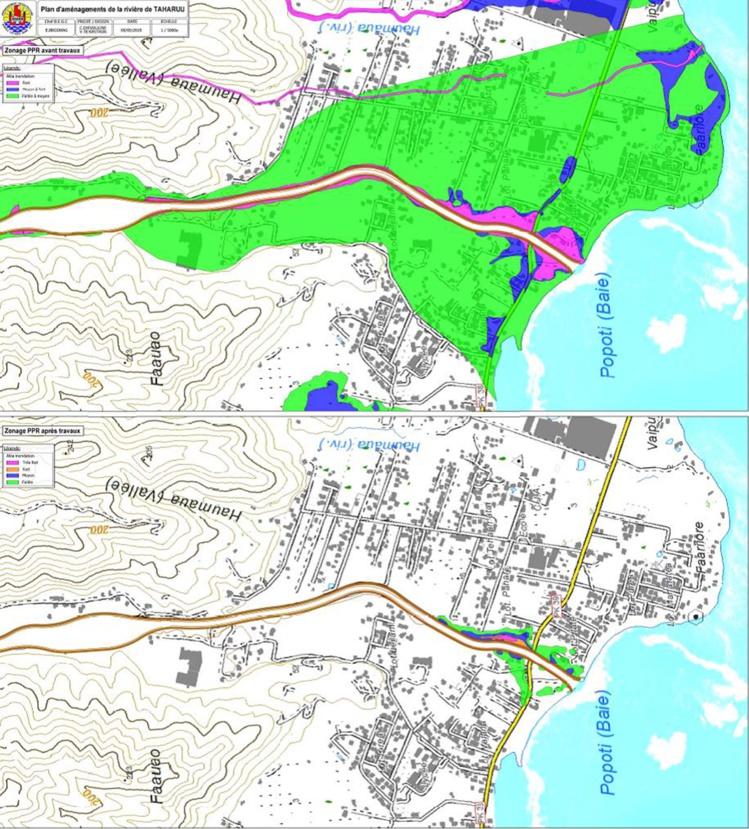 En haut les risques (principalement inondation) dans la zone aujourd'hui. En bas le PPR prévu après les travaux.