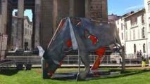 Manifestation d'éleveurs: l'inauguration d'une statue de vache annulée à Vienne