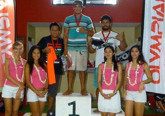 Le podium des - 97 kg, belle victoire pour Tamatea Taataroa.