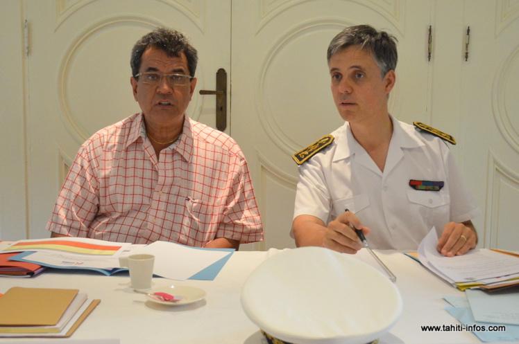 Edouard Fritch et Lionel Beffre, lundi 13 juillet à Papeete lors du comité de pilotage du contrat de projets Etat-Pays-communes