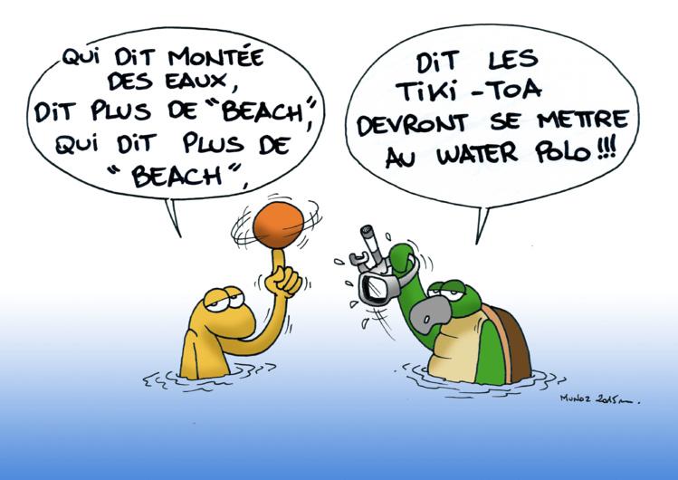 """""""Changement climatique : beachsoccer au water polo?"""" par Munoz"""