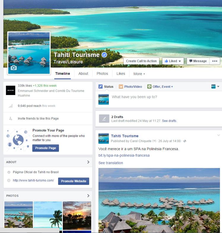 La page Facebook de Tahiti Tourisme que seuls les Brésiliens peuvent voir