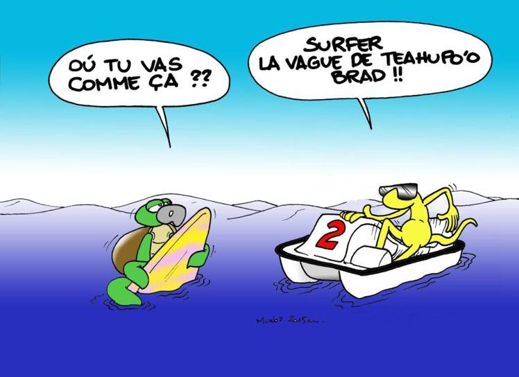 """Teahupo'o : surf, moto et pédalo"" par Munoz"