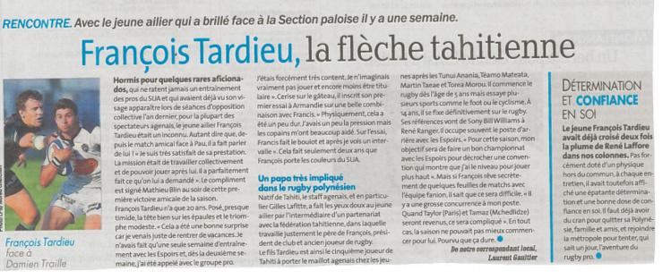 Rugby: François Tardieu, l'ailier tahitien qui fait parler de lui à Agen