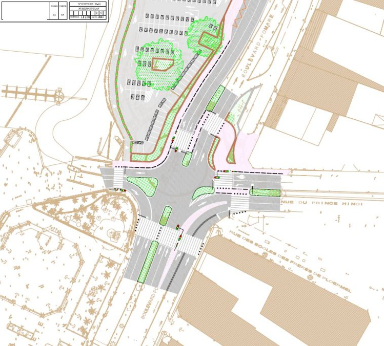 Le nouveau plan de circulation au croisement du front de mer et de l'avenue du Prince Hinoi avec la suppression du giratoire du Pacifique.