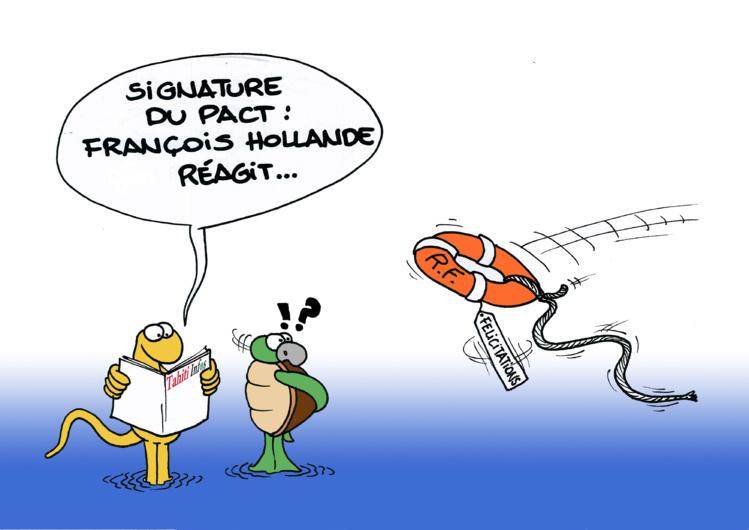 """Pact: Les félicitations d'Hollande"" vu par Munoz"