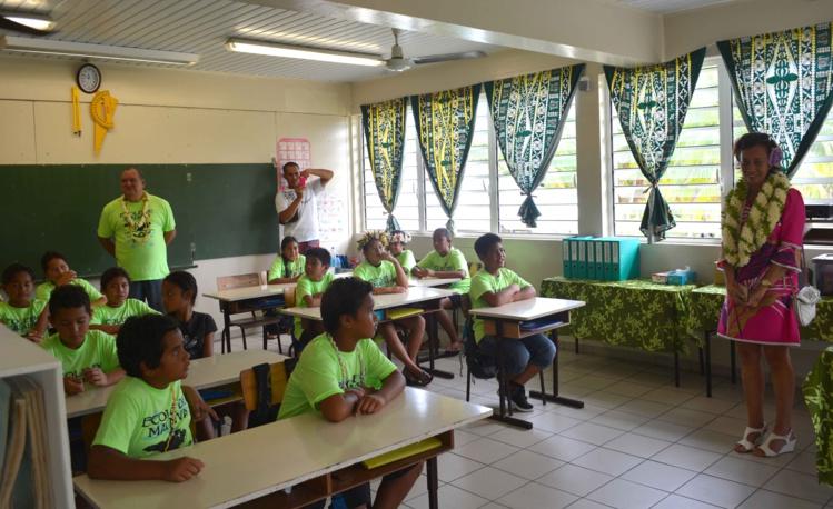Les élèves de Rangiroa (crédit photo : Présidence)