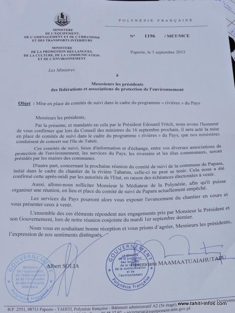 """L'intitulé de ce courrier du gouvernement est adressé à la FAPE, ce qui ne convient pas au syndicat """"No Te Aru Tai Mareva""""."""