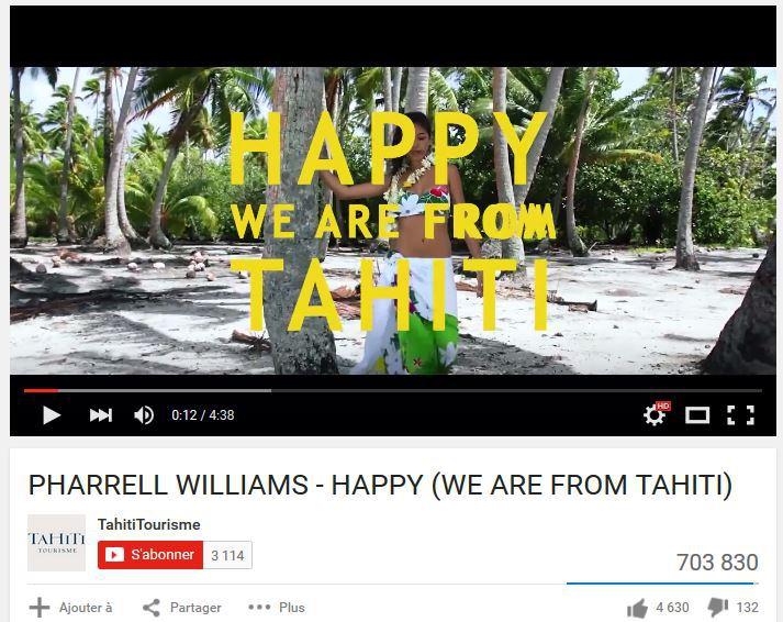 Le GIE Tahiti Tourisme à son meilleur avec ce clip reprenant Happy de Pharrel Williams, version tahitienne, qui approche le million de vues sur YouTube.