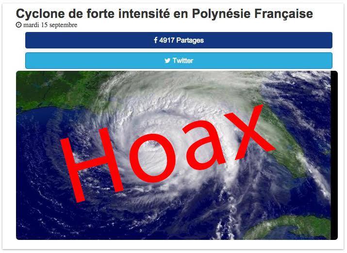 """Fausse alerte cyclonique en Polynésie, une """"blague"""" de très mauvais goût affole le web local"""